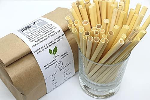 Trinkhalm Natur® Cannucce di canna (250 pezzi, L 14 / 20 / 25 cm / Ø 5 - 8 mm), naturali, vegetali, compostabili, senza plastica, riutilizzabili e monouso (250 / L 14 / Ø 5 - 8 mm)