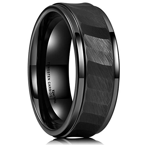 King Will Hammer 8mm Black Tungsten Carbide Ring Hammered Brushed Mens Wedding Band Comfort Fit (12)