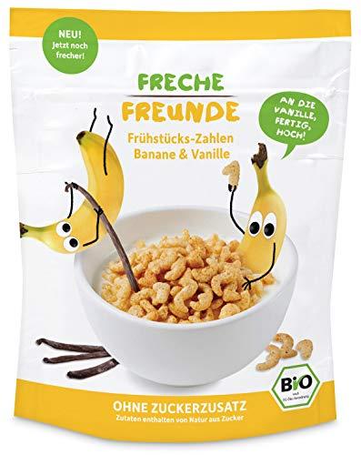 FRECHE FREUNDE Bio Frühstücks-Zahlen Banane & Vanille Cerealien ohne ohne Zuckerzusatz für Kinder & Babys ab 1 Jahr vegan, 6er Pack (6 x 125 g)