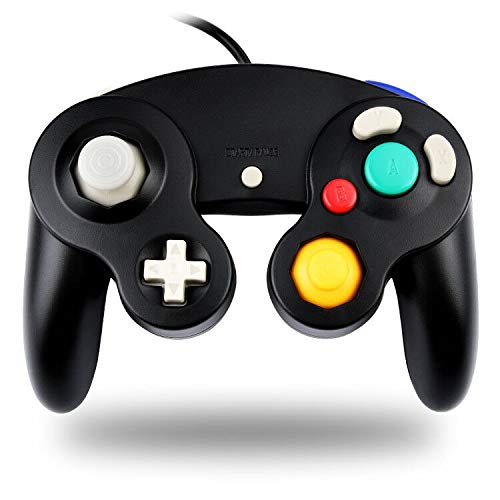 TechKen Gamecube Controller Joystick für Wii Wired Game Controller Joypad Dual Vibration NGC Gamepad Game Cube Original Controller Gamecube Spiele für GC (Black)
