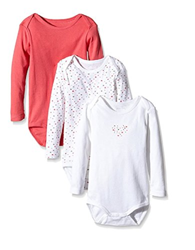 NAME IT NAME IT Baby-Mädchen NITBODY LS M G NOOS Body, Mehrfarbig (Rouge Red), 98 (3er Pack)
