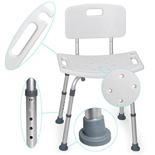MedX5 (Upgrade 2019) Duschhocker höhenverstellbar, Badestuhl mit Rückenlehne, Badehocker, maximale Belastung: 135kg mit EXTRA Querverstrebungen