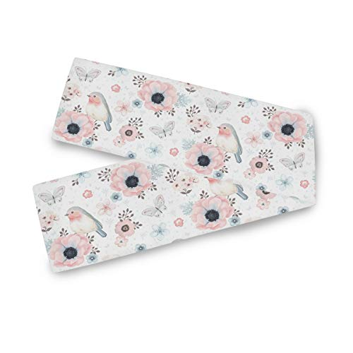 AGONA Cute Birds Butterfly Pink Flowers Table Runner 13 x 70 Inches Double Sided Long Table Linens Cloth Top Dresser Scarf for Dinner Dining Party Wedding Kitchen Home Decor