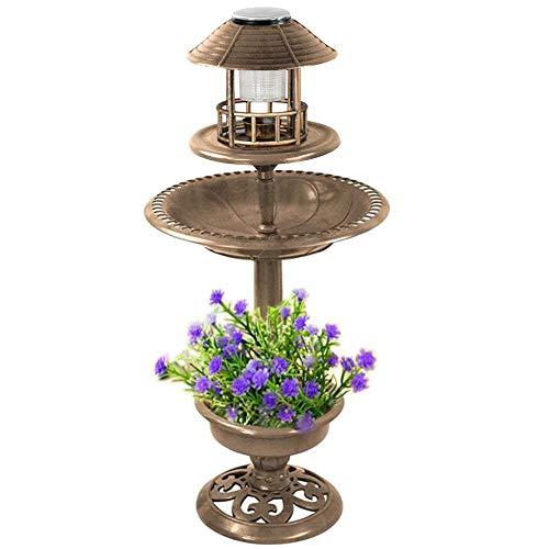 Popamazing - Mangiatoia Portatile per Uccelli da Giardino e Vasca da Bagno con Luce Solare