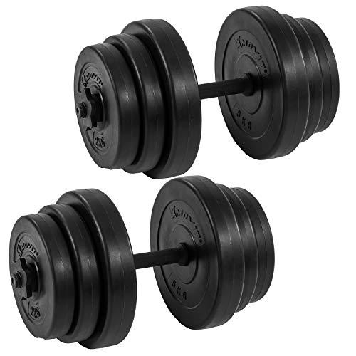 Movit® Kurzhantel 2er Set, Kurzhantelset Gewicht 40kg (2x20kg) Kurzhanteln Stangen gerändelt Hanten mit Sternverschlüssen