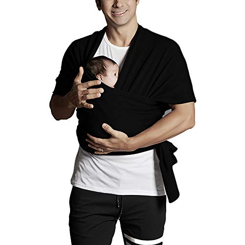 Baby Wrap Carrier Baby Sling Wrap Carrier from Newborns to Todder Child Best Baby Shower Gift (Black)