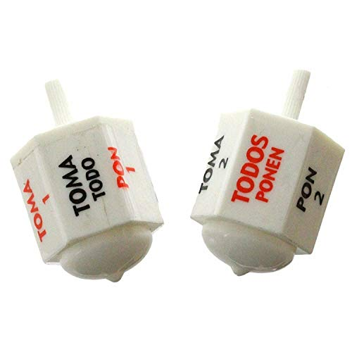 (2 Pack) Plastic Toma Todo Pirinola Traditional Mexican Game. White. Lightweight ,#G14E6GE4R-GE 4-TEW6W225571