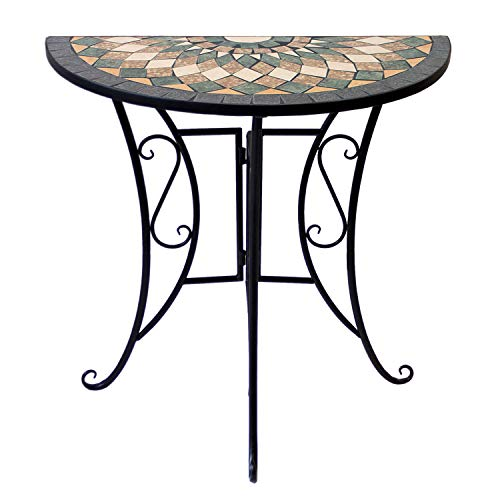 Wohaga Mosaiktisch halbrund 70x35cm Balkontisch Gartentisch Beistelltisch Bistrotisch Eisen Keramik Schwarz/Grau/Grün/Rot/Terrakotta