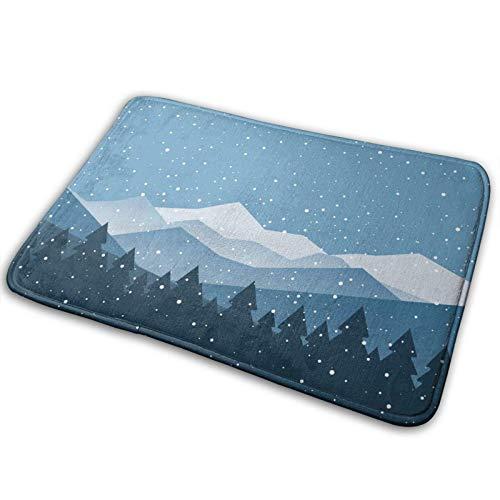 Alfombra de baño para puerta de invierno, nieve, montaña, espuma viscoelástica, para cocina, pasillo, interior de 19,5 x 80 cm