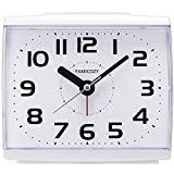 FAMICOZY Analog Alarm Clock for Elderly,Quiet Non Ticking with Snooze and Backlight,Crescendo Loud Alarm,Big Numbers for Easy Reading,Battery Operated,White