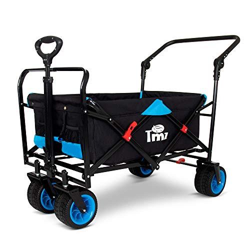 TMZ All Terrain Wide Wheel Utility Folding Wagon, Collapsible Garden Cart, Heavy Duty Beach Wagon Trolley with Adjustable Push Handle and Brake, 90 L Storage, Load of 120KG(Black/Blue)
