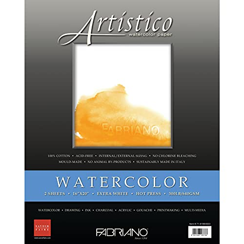 Fabriano Artistico Extra White Watercolor Sheets, Hot-Press, 300 lb, 16' x 20'