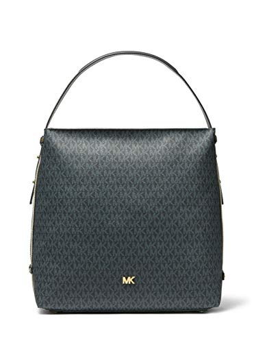 "MK Signature Canvas, Genuine Leather Trim Gold-Tone Hardware 14""W X 13""H X 5.5""D Handle Drop: 7.5"" Interior Details: Back Slip Pocket, Center Zip Pocket"