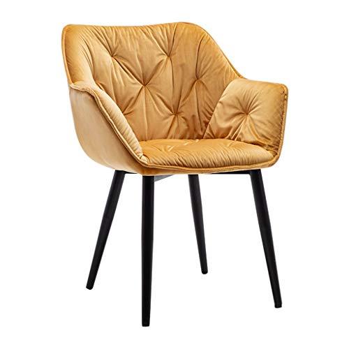 ZCXBHD 1x Esszimmerstühle Dining Chair Küchentheke Stuhl Lounge Wohnzimmer Eckstuhl Sessel Rezeption Stuhl mit Rückenlehne und Armstützen und Metall Beine (Color : Gold)