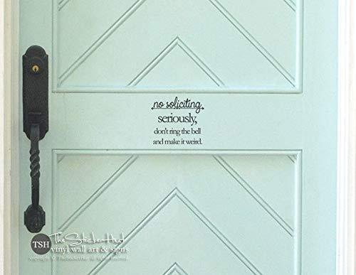 Voordeur geen vragen serieus niet Ring de bel en maken het vreemd Vinyl Decal - Home Decor- Vinyl Sticker Decals 1950 gemakkelijk aan te brengen en verwijderbaar