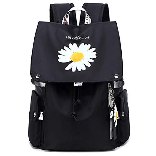 Suweir Rucksack Damen,Schulrucksack Mädchen Teenager Schultasche Damen Wasserdicht Daypacks mit Daisy floral,Schlüsselbund,15.6 Zoll Laptopfach,Anti Diebstahl Taschen