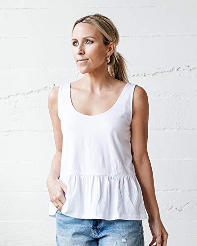 The Drop Women's White Tie-Back Peplum Tank by @jaceyduprie