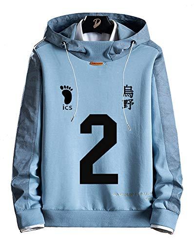 Sudadera de forro polar para hombre y mujer diseo de anime Dnnes Vlies con capucha para disfraz de karasuno para colegio voleibol club Sugawara Koushi NO.2 color azul talla M(pecho 101cm)