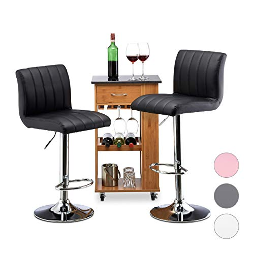 Relaxdays Barkruk 2-delige set, in hoogte verstelbaar, draaibaar, met leuning, kunstleer, metaal, HxBxD: 112 x 40 x 43 cm, zwart