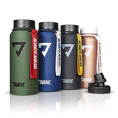 ABOVE. Trinkflasche Edelstahl 950ML I 2 Trinkverschlüsse I Thermosflasche Doppelwandig I BPA Frei I Kohlensäure Geeignet I Fitness, Sport, Gym (Blau)
