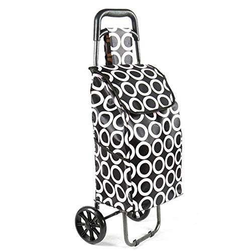 QXTT Lightweight Foldable Shopping Trolley Grocery Cart Suitcase Luggage 2 PU Wheel Ergonomic Handle Collapsible Pull Carts Satin Cloth Shopping Bag Cart Large Capacity 30L