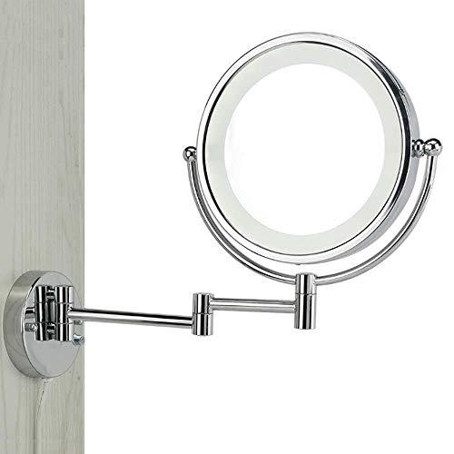 LULUDP Badspiegel Make-up-Spiegel Badezimmer-Spiegel Rasieren Spiegel Make Up der Wand befestigte LED beleuchtetem Spiegel Dusche Spiegel 3-10X Vergrößerungs Verdeckte Verzieren Installieren Sie einfa