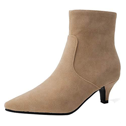 RAZAMAZA Damen Mode Schuhe Kleid Stiefeletten Kitten Heel Reißverschluss Knöchel Stiefel Pointed Toe Party Kurze Stiefel Apricot Size 45 Asiatisch