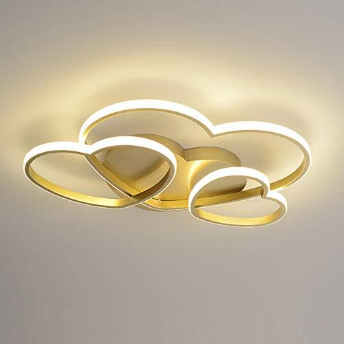 Lámpara de Dormitorio LED Lámpara de techo Dorado Plafón Corazón - Diseño Lámpara de techo Regulable con control remoto L60cm 54W Moderno Romántico Restaurante Sala Cafe Hotel Decorativa Luz de techo