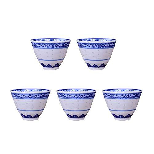 XJF Juego de té de cerámica de porcelana, taza de té de Kung Fu, taza de té de cerámica china Jingdezhen azul y blanco, juego de 5