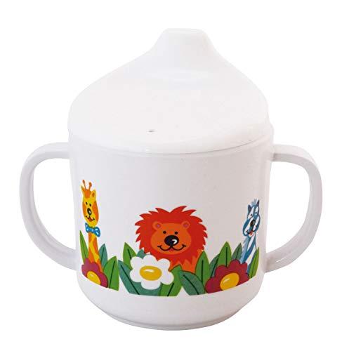 Bieco 04000141 Schnabeltasse Zoo, Trinkbecher aus Melamin, Tasse zum Trinken lernen für Kleinkinder, weiß