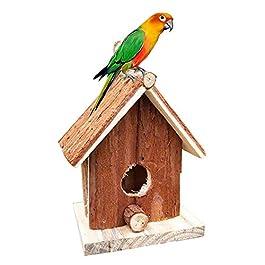 Asdomo Natural Wooden Bird House Outside Hanging Handmade Birdhouse Nest Gardening Decoration,12.5×8×15cm