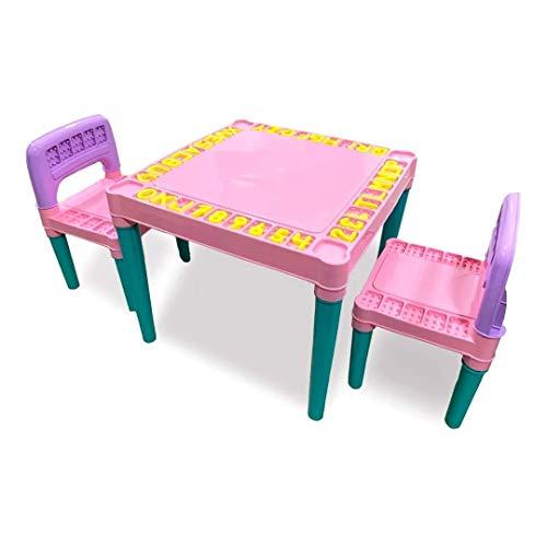 Mesinha e Cadeira Educativa Infantil Meninas Rosa