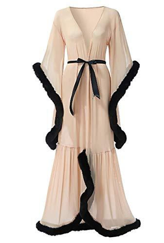 Shhyy Bata de Lencería para Mujer, Bata Kimono Transparente Larga, Ropa Interior Babydoll, Bata de Novia con Plumas,Lencería Sexy para Mujer,D