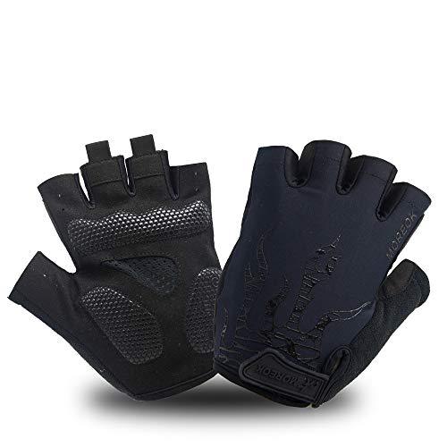 Fahrradhandschuhe Fingerlos Fitness Handschuhe Atmungsaktiv Rutschfestes Stoßdämpfende Radsporthandschuhe für MTB Fitness Damen und Herren (Schwarz,M)