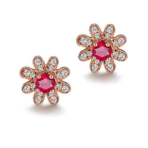 AtHomeShop Auténtica colección de oro rosa de 18 quilates, pendientes clásicos con forma de flor, con rubí redondo de 0,3 quilates y diamante, joya de noche para regalo de Año Nuevo, oro rosa rojo