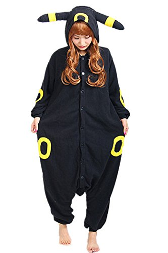 wotogold Pijamas de Umbreon Animal Trajes de Cosplay Adultos Unisex Black