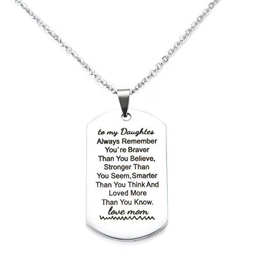 To My Son I Want You to Believe Love Mom and Dad Etiqueta para perro de la Fuerza Aérea Militar Marina Guardia Costera Collar de cadena de bolas regalo para mejor hija cumpleaños y graduación (Nkc039)