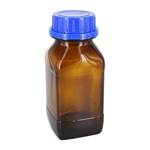 3 x 500ml Chemikalienflasche / Weithalsflasche quadratisch Braunglas mit Rasterkranz inklusive Schraubverschluss OV 54mm blau mit Konusdichtung *** Apothekenflasche, Chemikalienflaschen, Weithalsflaschen, Braunglasflasche, Apothekenflaschen, Apothekenglas, Braunglasflaschen ***
