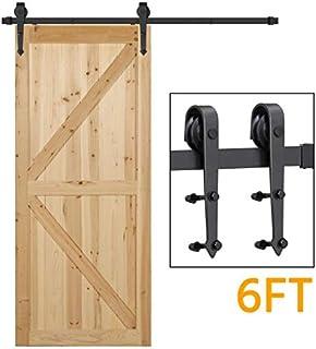 Yaheetech 6 Ft Barn Door Hardware Sliding Garage Closet Cabinet Door Hardware Track Rail Rollers System Kit Set Indoor/Outdoor Black