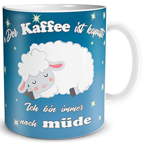 TRIOSK Schaf Tasse Kaffee Kaputt mit Spruch lustig Coffee Geschenk Schafmotiv für Arbeit Büro Frauen Freundin Kollegin Schaffans