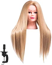 FABA Mannequin Head Synthetic Fiber Hair 26-28 inch Long Hair Styling Training Head Cosmetology Doll Head Hairdressing for Cutting Braiding Practice with Free Clamp (27#)