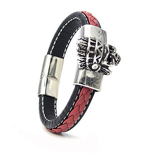 Rocker Herren Armband aus Echt-Leder geflochten mit Apache Indianer Totenkopf und mit Magnetverschluss aus Edelstahl (Rot, 22.0)