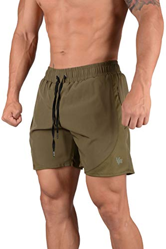YoungLA Mens Active Running Shorts | Gym Workout Training Bodybuilding | with Zipper Pockets Drawstrings and Side Mesh | 125 Olive XXL