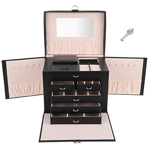 Estuche de almacenamiento de joyas, 5 capas elegante con cerradura y llave Estuche para joyería duradero, para collar precioso, anillos, pulseras, relojes, joyería