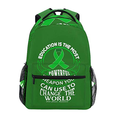 Mochila con Estampado de Conciencia sobre el cáncer de hígado, Bolsas de Viaje para la Escuela y la Universidad