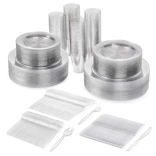 600 Piezas| Juego de Vajilla de Plástico Desechable Brillo