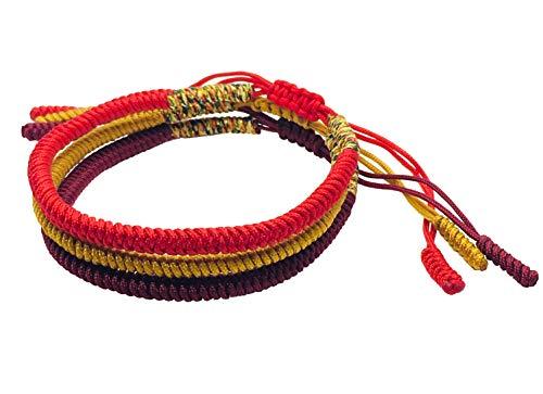 Tibetan Buddhist Handmade Lucky Knot Rope Bracelet (Set of 3 - Red, Deep Red, Golden)