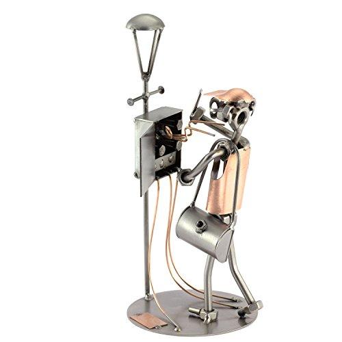 Steelman24 I Schraubenmännchen Elektriker mit Blitz I Made in Germany I Handarbeit I Geschenkidee I Stahlfigur I Metallfigur I Metallmännchen