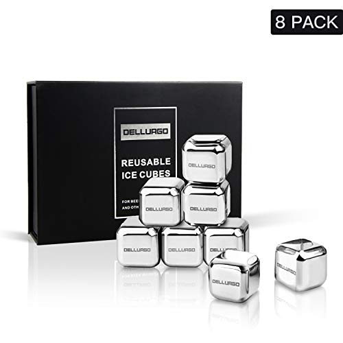 DELLURGO Stainless Steel Ice Cubes 8 Pack Reusable Ice Cubes with Tongs & Freezer Storage Tray Gift Sets Chilling Stones for Whiskey Wine Beverage