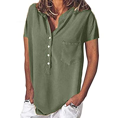Women's Summer Solid Color Button Short Sleeve Pocket Casual Loose T Shirt Tops